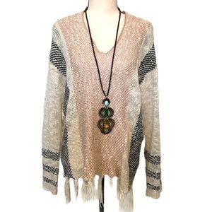 3/$25 Lovemarks | boho chic fringe v-neck sweater
